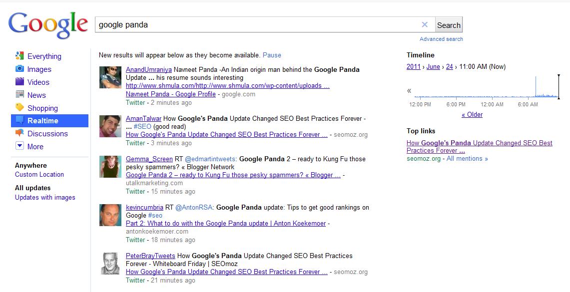 Voorbeeld Google Realtime Search