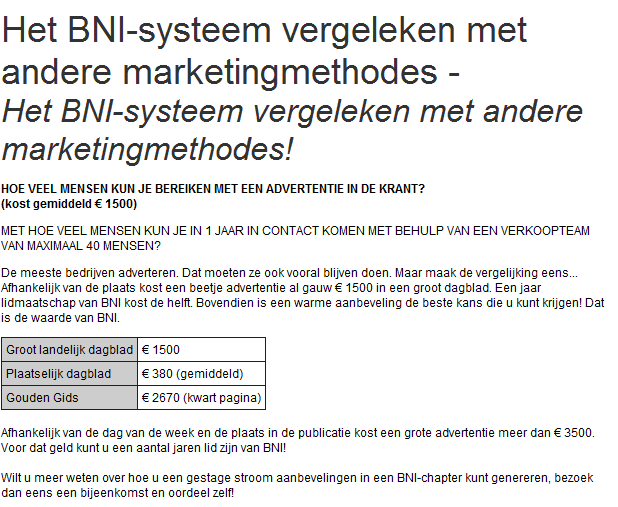 BNI Sales, Netwerken BNI Gouda