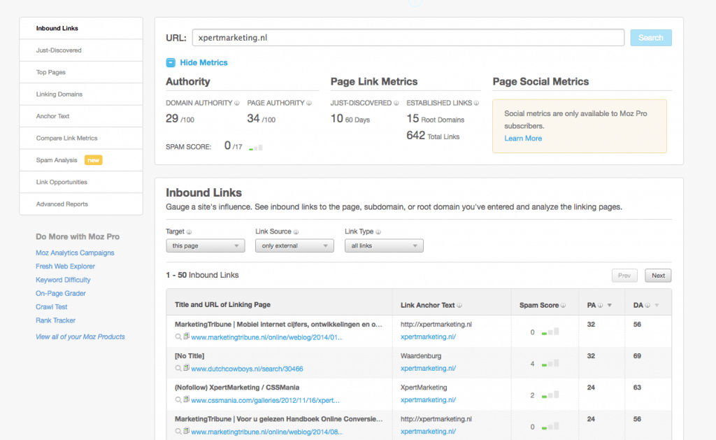 MOZ tool: informatie over interne en externe backlinks